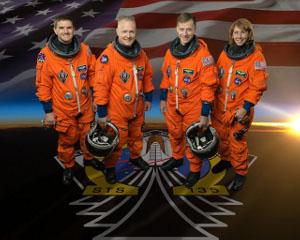 Besättningen. från vänster; Rex Walheim, Doug Hurley, Chris Ferguson och Sandy Magnus.